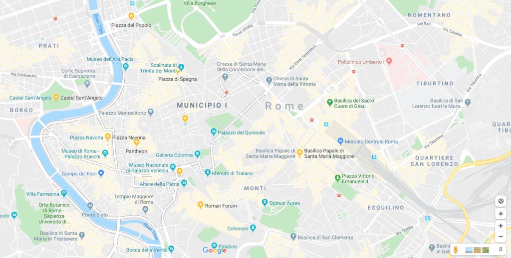 romada gezilecek yerler haritası