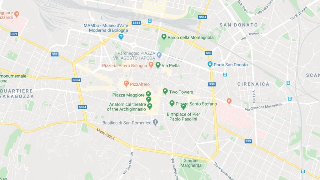 bologna travel guide map of Bologna